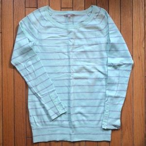 Mint green and grey stripe sweater